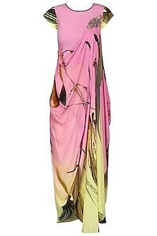 Pink and Lemon Green Ombre Draped Dress