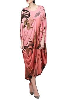 Pink Round Printed Draped Dress by N&S Gaia