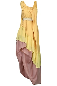 Yellow Draped Twill Dress