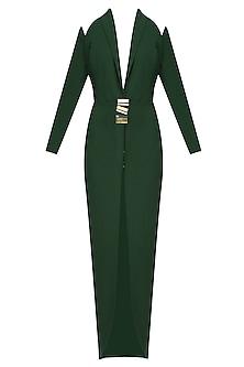 Green Shoulder Cut Shawl Out Lapel Dress by Nikhil Thampi