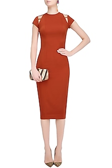Rust Shoulder Cut Out Shift Dress by Nikhil Thampi