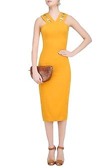 Mustard V Neck Shift Dress by Nikhil Thampi