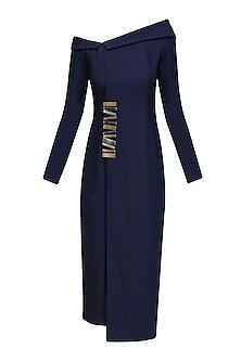 Navy Off Shoulder Blazer Shift Dress by Nikhil Thampi
