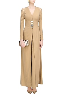 Nude Long Jacket with Pants by Nikhil Thampi