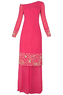 Bright Pink Embroidered Kurta with Palazzo Pants Set