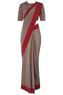 Grey Pre-Stitched Saree with Floral Embroidered Blouse