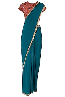Teal Pre-Stitched Saree with Rust Embroidered Blouse by Nikhil Thampi