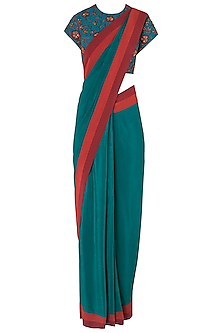 Teal Pre-Stitched Saree with Floral Embroidered Blouse