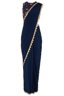 Navy Blue Pre-Stitched Saree with Floral Embroidered Blouse