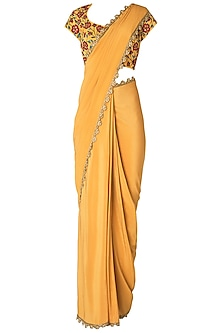 Mustard Pre-Stitched Saree with Floral Embroidered Blouse