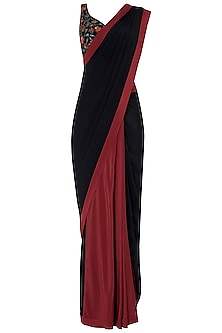 Black and Maroon Pre-Stitched Saree with Embroidered Blouse