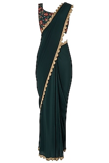 Bottle Green Pre-Stitched Saree with Embroidered Blouse