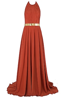 Rust Metal Chip Embroidered Gown