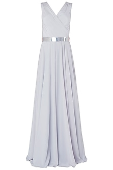 Grey Metal Chip Embroidered Gown