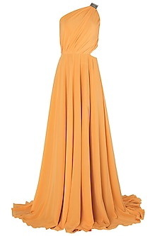 Mango Metal Chip Embroidered One Shoulder Gown