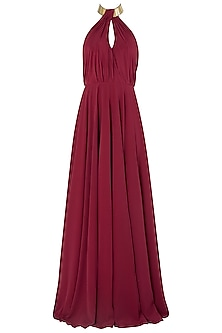 Maroon Metal Chip Embroidered Gown by Nikhil Thampi