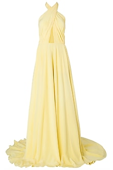 Yellow Criss-Cross Cutout Gown