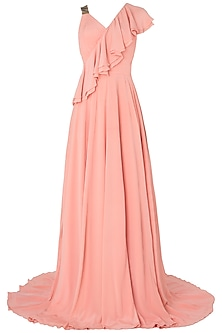 Peach Metal Chip Embroidered Frills Gown