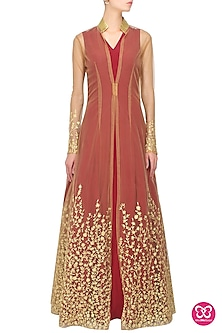 Maroon and nude half embroidered overlayered jacket set by Nikhil Thampi
