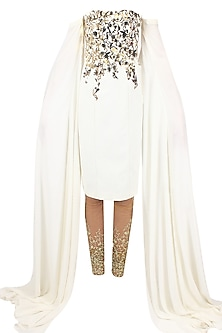 White metal embellished long sleeved tube kurta with gold embroidered churidaar