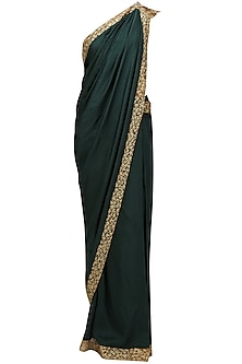 Green and gold embroidered saree