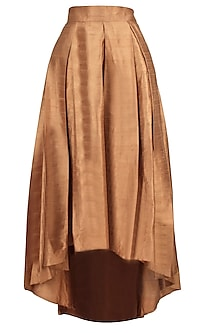 Brown Asymmetrical Bell Skirt