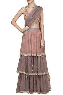 Onion Pink and Grey 3 Tier Embroidered Lehenga Saree by Nandita Thirani