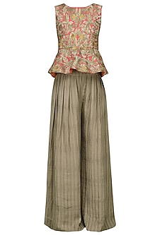 Woody Brown Embroidered Peplum Top with Palazzo Pants