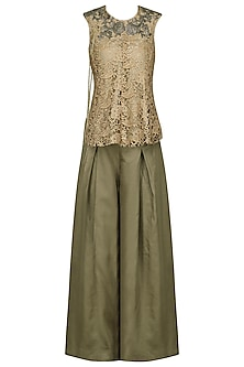Gold Embroidered Top with Olive Green Palazzo Pants