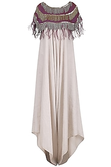 Beige Jumpsuit with Purple Embroidered Capelet