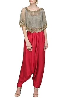 Pistachhio Embroidered Cape Top with Pants by Nandita Thirani