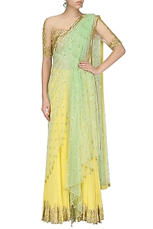 Lemon Yellow Embroidered Draped Saree with Nude Blouse by Nandita Thirani