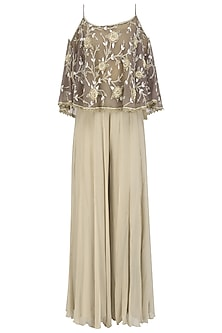 Violet Off Shoulder Embroidered Cape Top with Sharara Pants Set