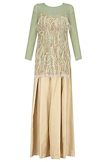 Nile Green Embroidered Tunic with Beige Wide Legged Pants Set