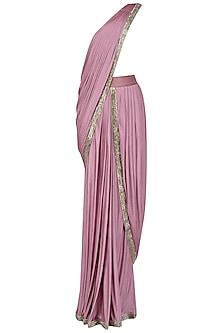 Lilac Embroidered Drape Saree