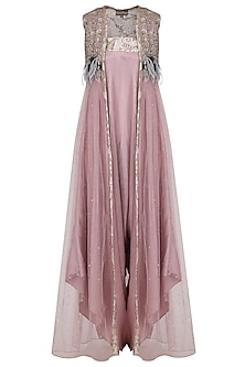 Onion Pink Jumpsuit with Embroidered Jacket