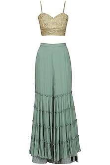 Green Layered Sharara with Embroidered Bralette