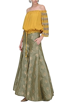 Mustard Bardot Top with Flared Palazzo Pants by Nandita Thirani