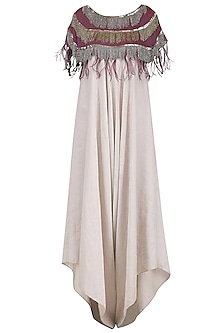Cream Jumpsuit with Wine Tassels Cape by Nandita Thirani