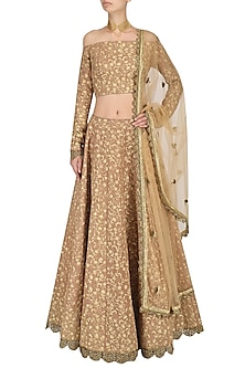 Onion Pink Embroidered Crop Top and Lehenga Set by Nikhil Thampi
