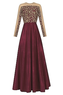 Maroon and Nude Embroidered Anarkali Set by Nikhil Thampi