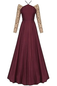 Maroon and Nude Embroidered Cross Neck Anarkali by Nikhil Thampi