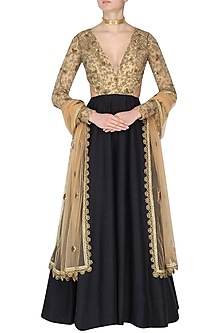Black and Nude V Neck Waist Cut Out Embroidered Anarkali Set by Nikhil Thampi