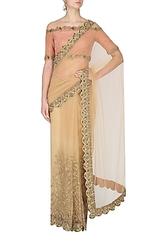 Nude Hand Embroidered Saree with Emebellished Scallop Border by Nikhil Thampi