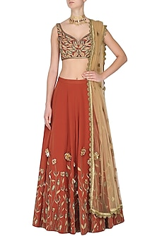 Rust Leaf Embroidered Lehenga Set by Nikhil Thampi