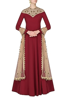 Rust and Nude Embroidered Anarkali by Nikhil Thampi