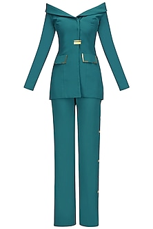 Teal Green Metal Chips Detail off Shoulder Blazer and Pants Set