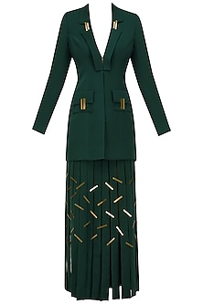 Bottle Green Metal Chips Detail Full Sleeves Blazer and Skirt Set by Nikhil Thampi