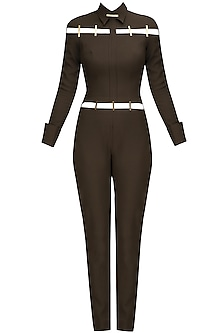 Olive and Gold Metal Chips Detail Jumpsuit