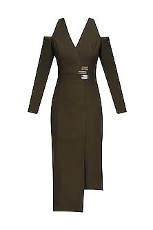 Olive Metal Chips Detail Cold Shoulder Fitted Dress